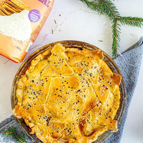 Šventinis daržovių pyragas be glitimo