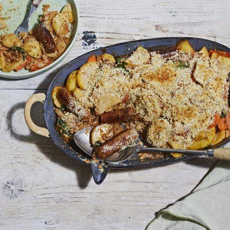 Bulvių ir augalinių dešrelių apkepas