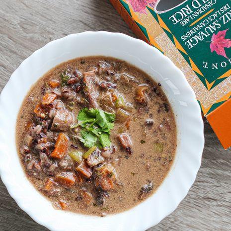 Pievagrybių sriuba su laukiniais ryžiais ir kokosų pienu