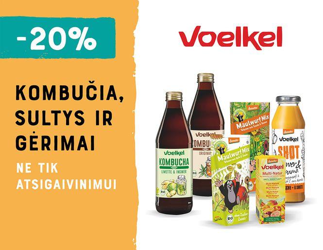 """-20% """"Voelkel"""" kombučia, sultims ir gėrimams l Akcija"""