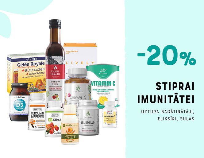 STIPRĀKAI IMUNITĀTEI: -20% uztura bagātinātājiem imunitātei | Akcija