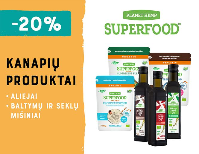 "-20% kanapių produktams ""Planet Hemp Superfood"" 