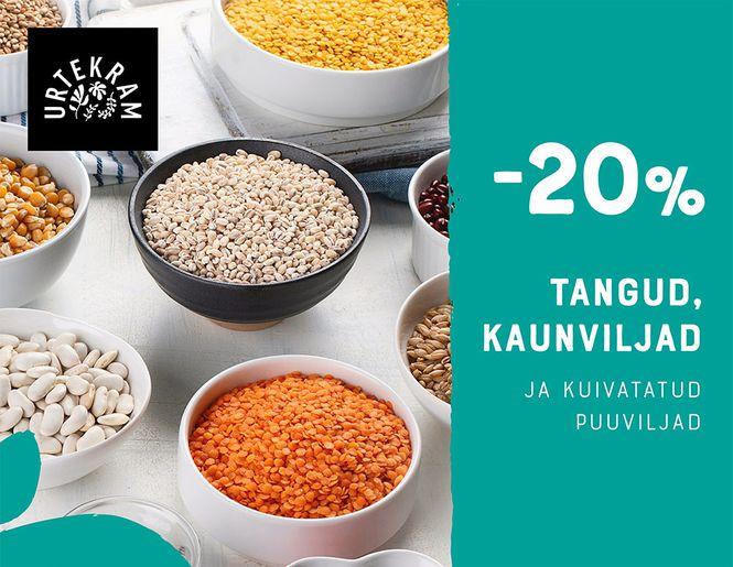 -20% URTEKRAM ökoloogilistele toidukaupadele   Kampaania