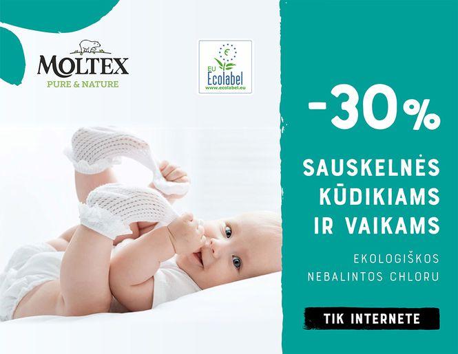 "-30% ekologiškoms sauskelnėms ""Moltex""   Tik internete"