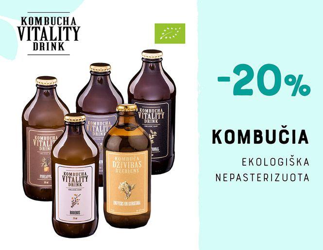 """-20% ekologiškiems kombučia gėrimams """"Kombucha Vitality Drink""""   Akcija"""