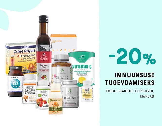 ABIKS IMMUUNSUSELE: Immuunsust toetavad toidulisandid -20% | Kampaania