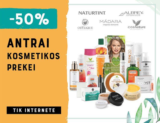 -50% antrai kosmetikos prekei – veidui, kūnui ir plaukams | Tik internete