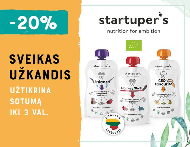 """-20% sveikiems užkandžiams """"Startuper's""""   Akcija"""