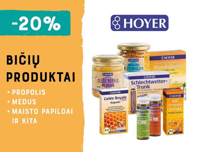 -20% bičių produktams ir maisto papildams HOYER   Akcija