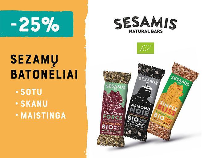 """-25% ekologiškiems sezamų batonėliams """"Sesamis"""" l Akcija"""